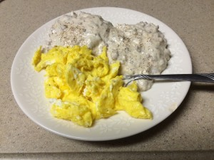 Eggs, biscuits and gravy